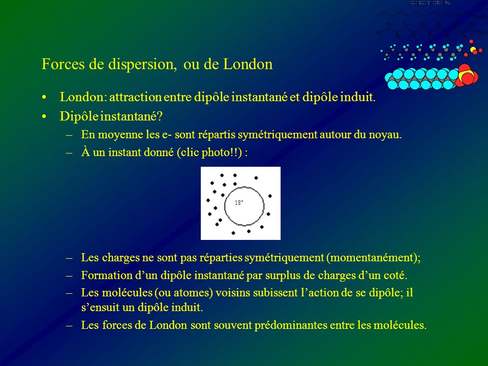 Forces de dispersion, ou de London