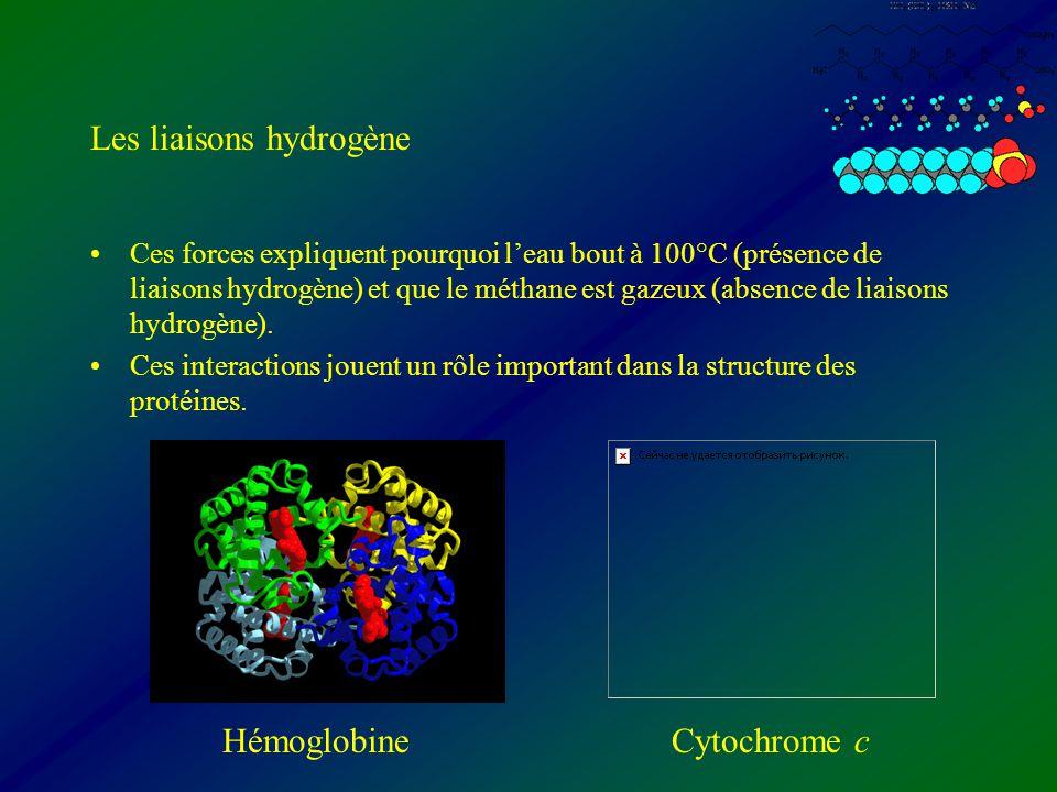 Les liaisons hydrogène