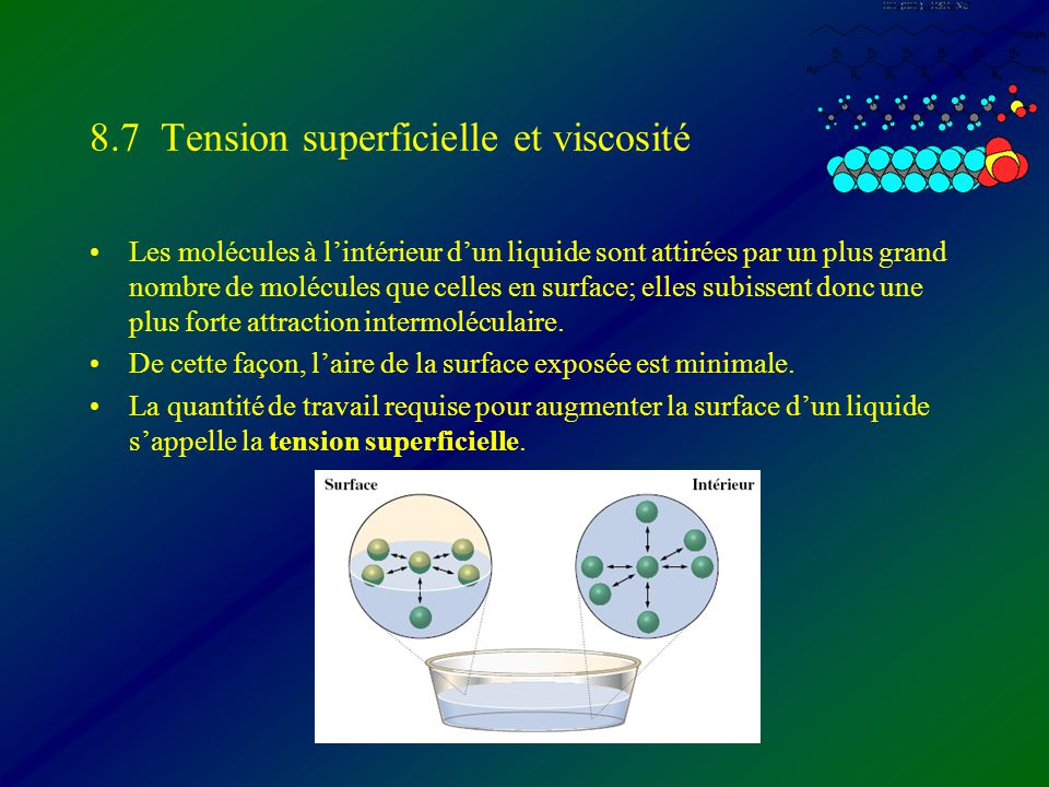 8.7 Tension superficielle et viscosité