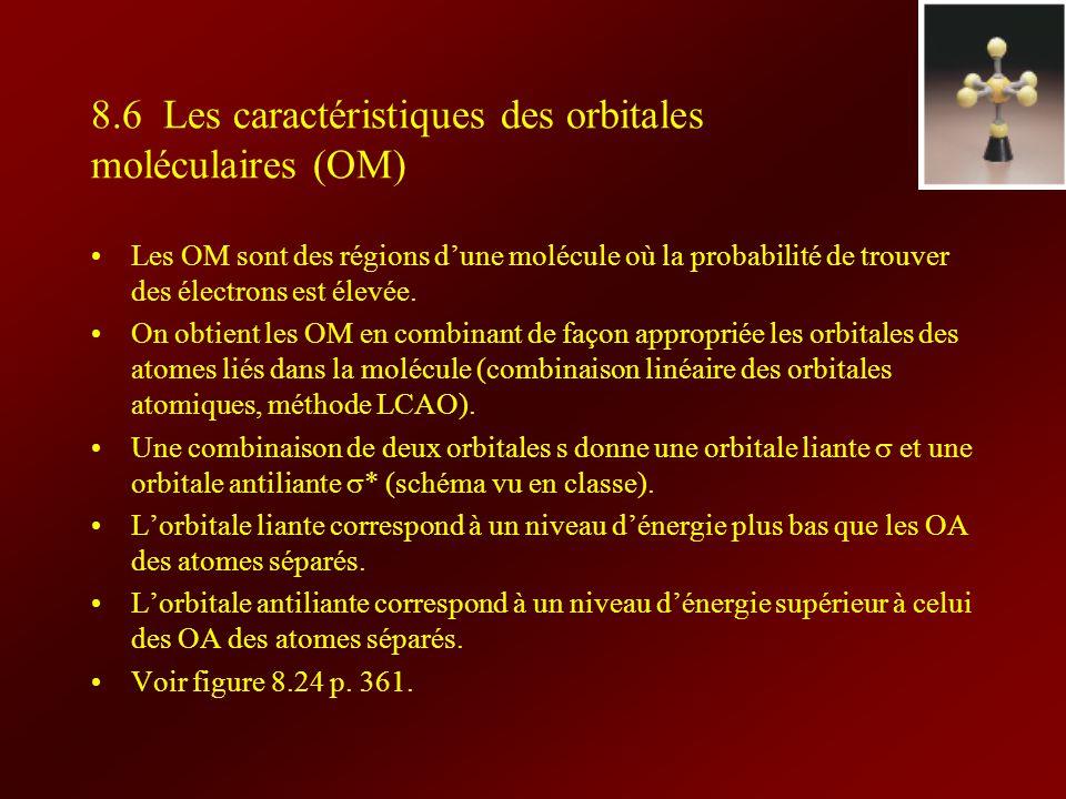 8.6 Les caractéristiques des orbitales moléculaires (OM)