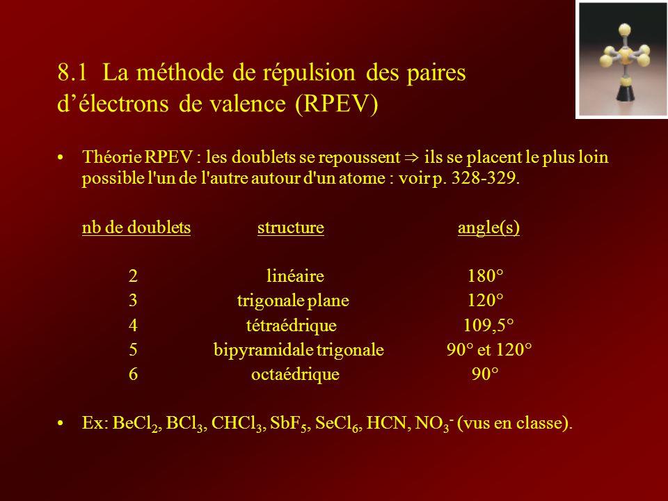 8.1 La méthode de répulsion des paires d'électrons de valence (RPEV)