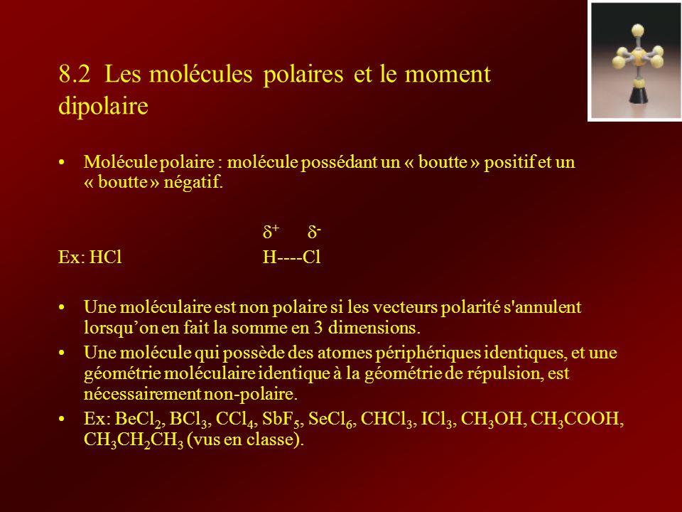8.2 Les molécules polaires et le moment dipolaire