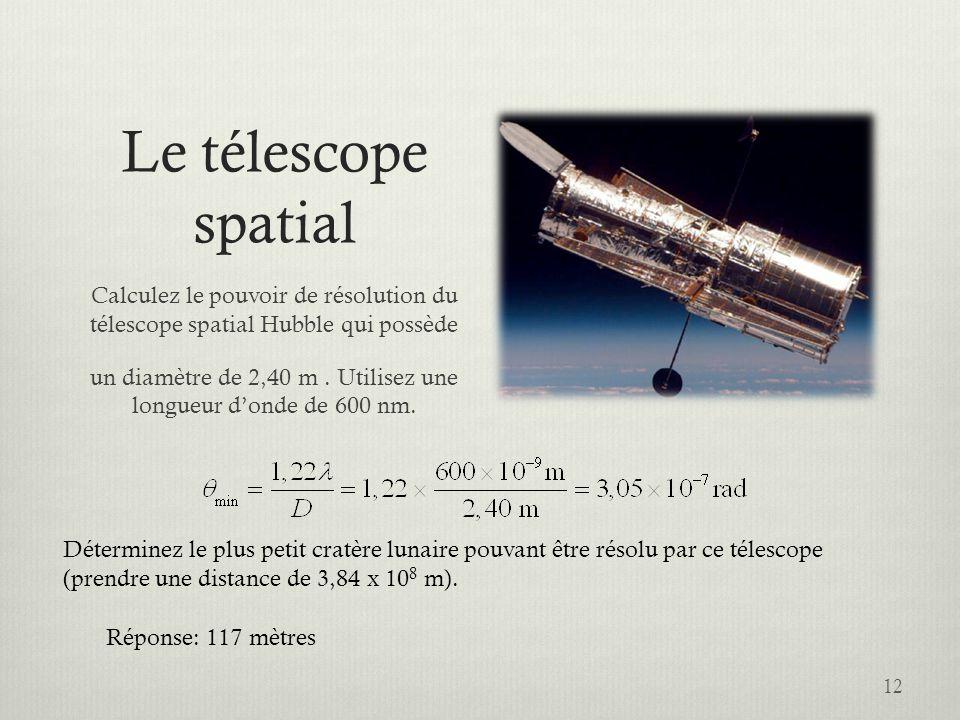 un diamètre de 2,40 m . Utilisez une longueur d'onde de 600 nm.