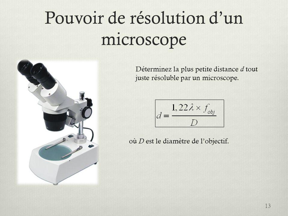 Pouvoir de résolution d'un microscope