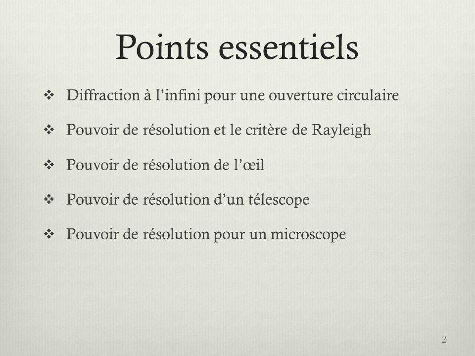 Points essentiels Diffraction à l'infini pour une ouverture circulaire