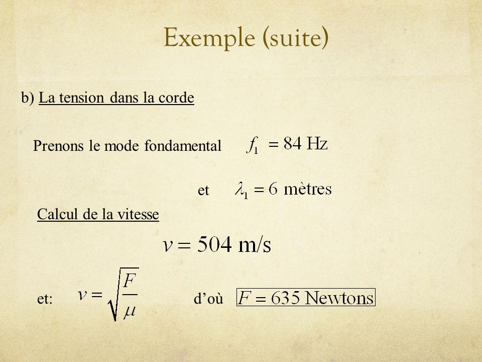 Exemple (suite) b) La tension dans la corde