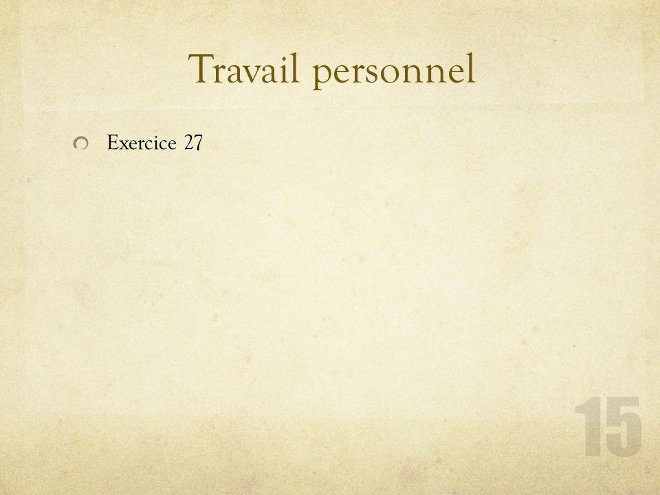 Travail personnel Exercice 27