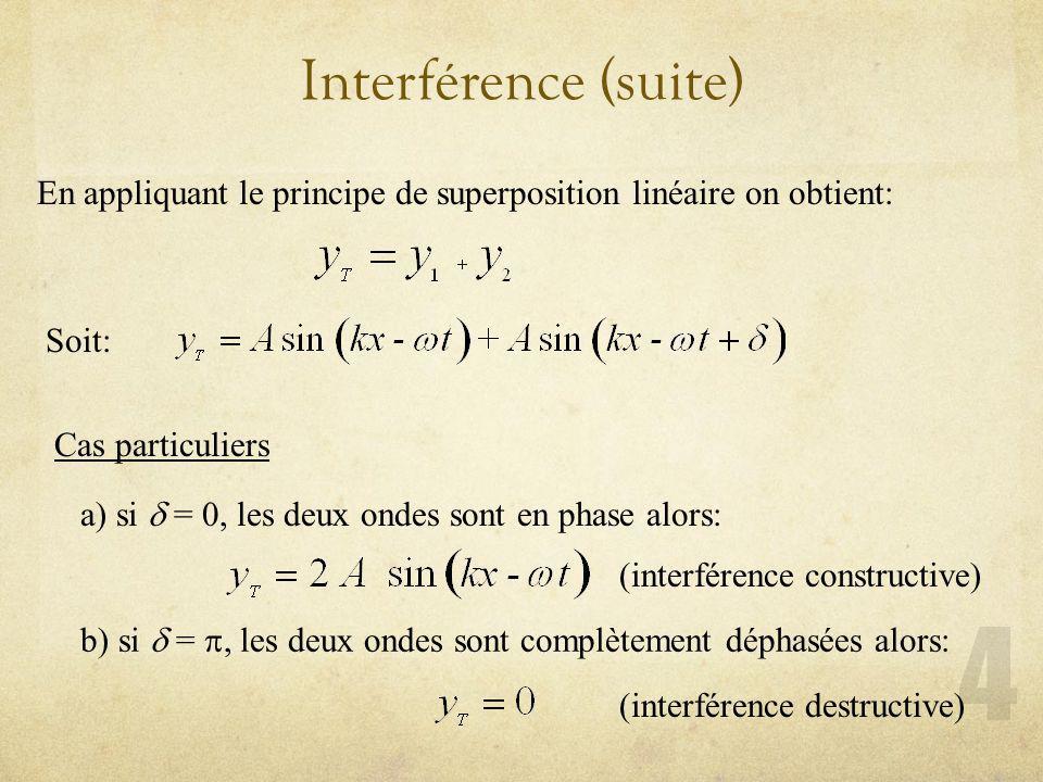 Interférence (suite) En appliquant le principe de superposition linéaire on obtient: Soit: Cas particuliers.