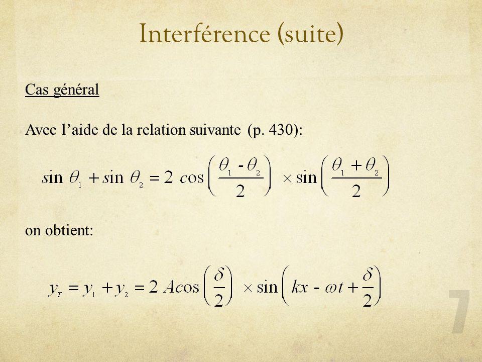 Interférence (suite) Cas général