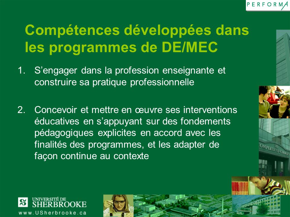 Compétences développées dans les programmes de DE/MEC