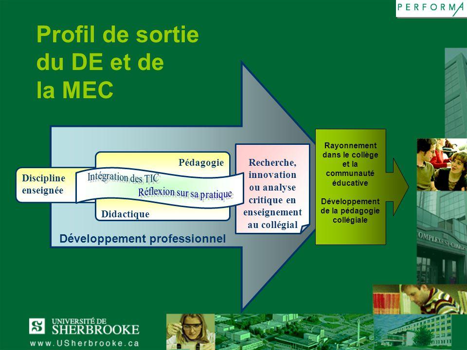 Profil de sortie du DE et de la MEC