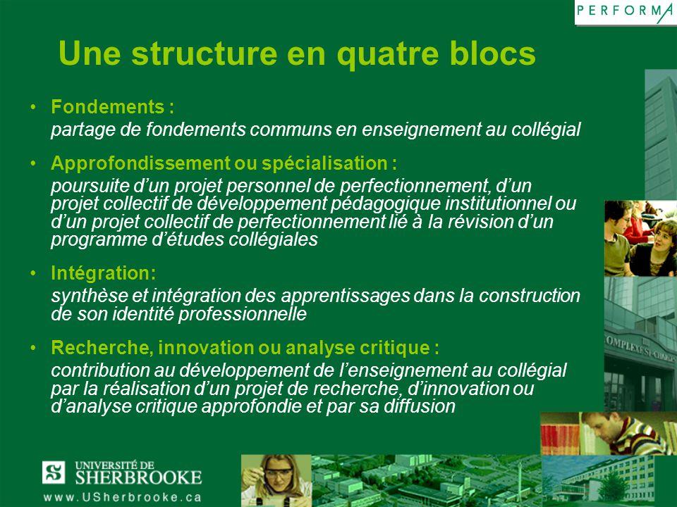 Une structure en quatre blocs