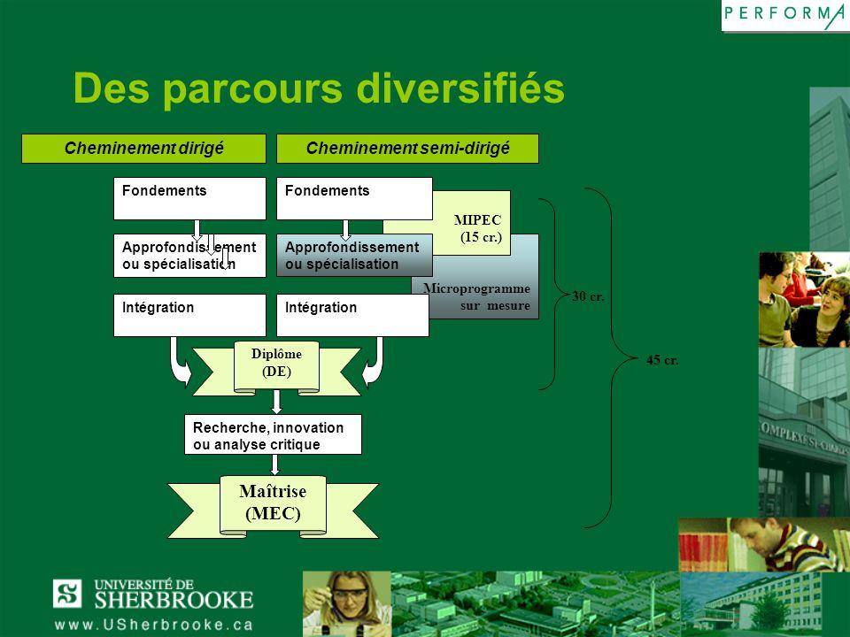 Des parcours diversifiés
