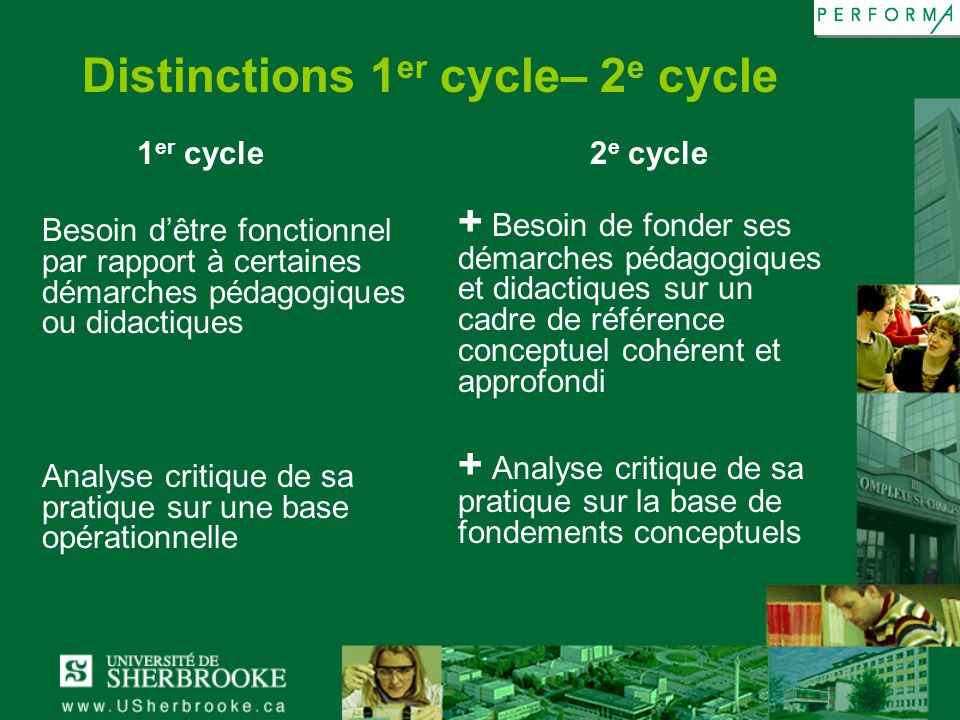 Distinctions 1er cycle– 2e cycle