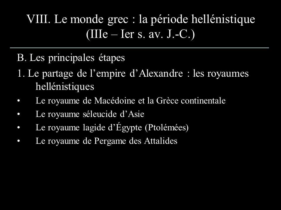 VIII. Le monde grec : la période hellénistique (IIIe – Ier s. av. J.-C.)