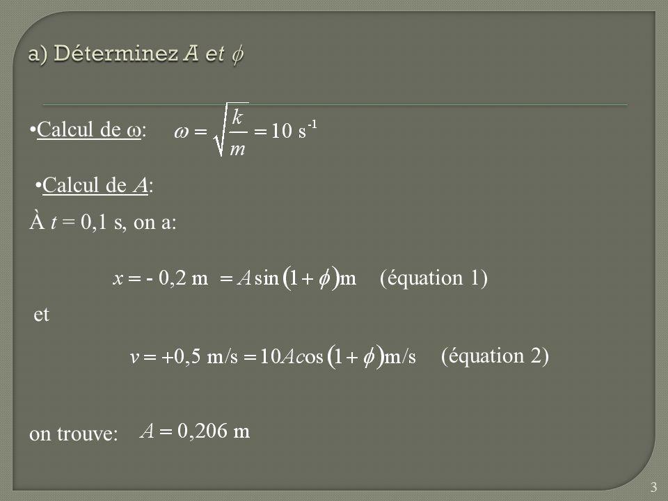 a) Déterminez A et f Calcul de w: Calcul de A: À t = 0,1 s, on a: