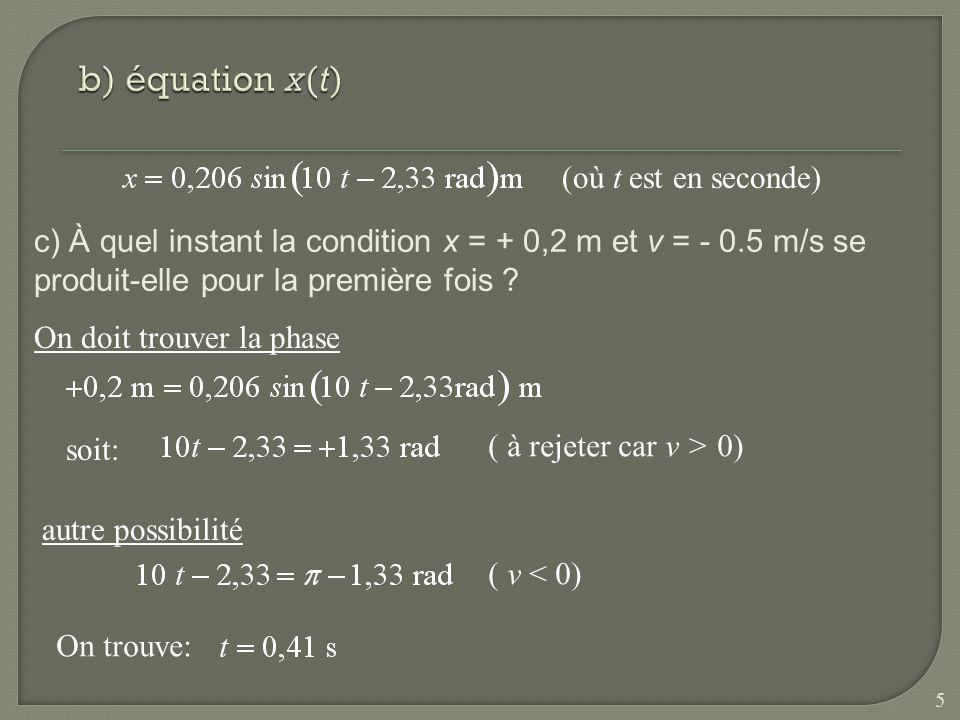b) équation x(t) (où t est en seconde)