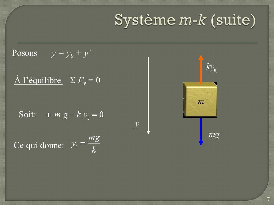 Système m-k (suite) Posons y = y0 + y' À l'équilibre S Fy = 0 Soit: y