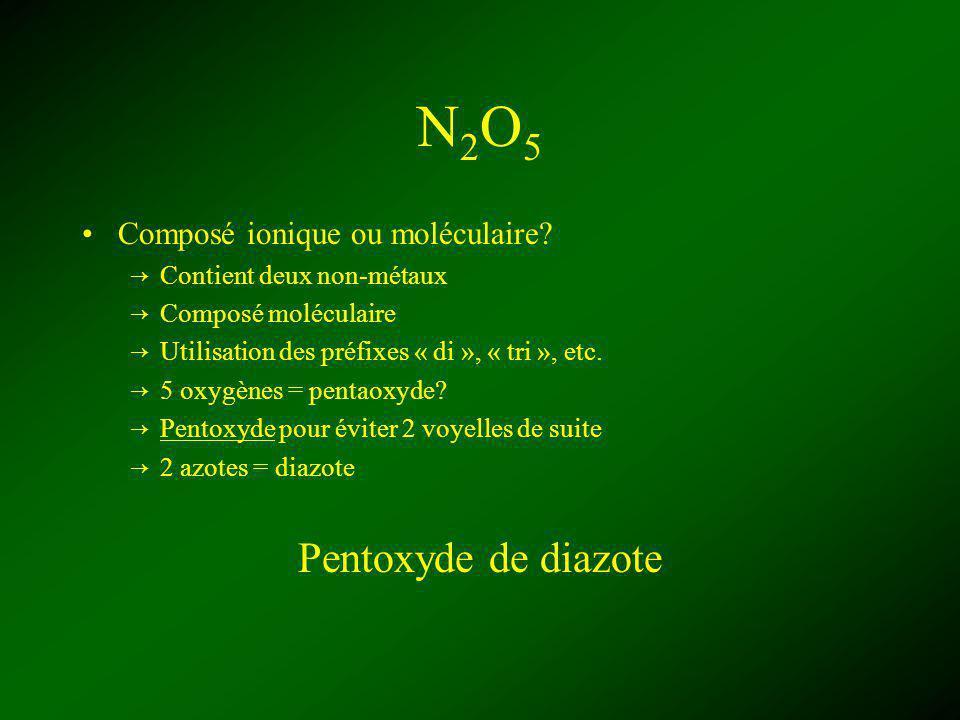 N2O5 Pentoxyde de diazote Composé ionique ou moléculaire