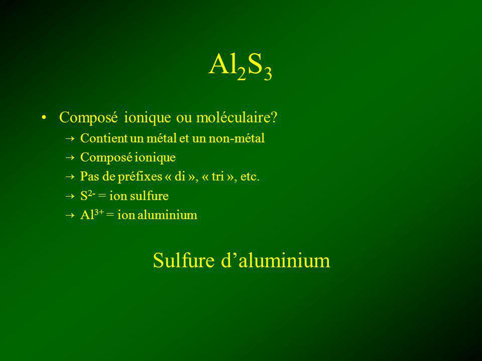 Al2S3 Sulfure d'aluminium Composé ionique ou moléculaire