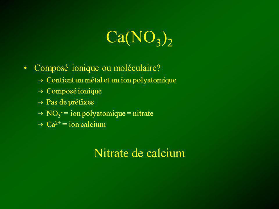 Ca(NO3)2 Nitrate de calcium Composé ionique ou moléculaire