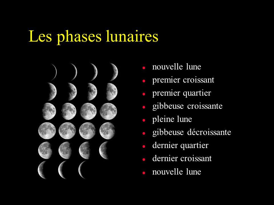 Les phases lunaires nouvelle lune premier croissant premier quartier