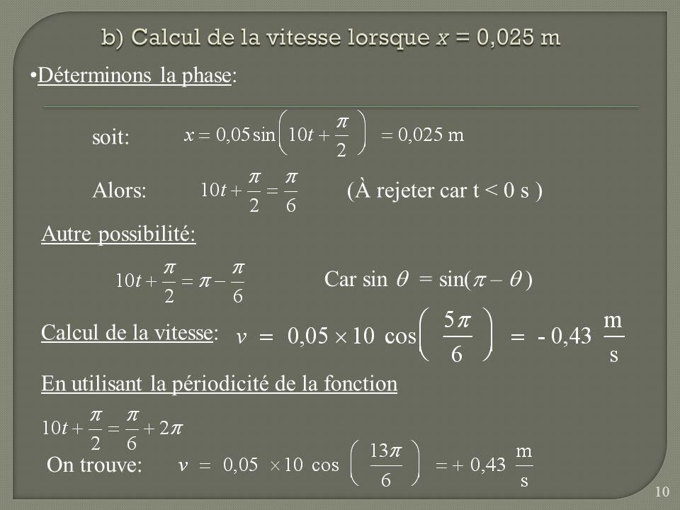 b) Calcul de la vitesse lorsque x = 0,025 m