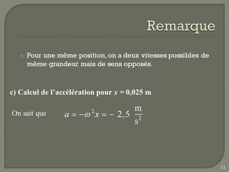 Remarque c) Calcul de l'accélération pour x = 0,025 m On sait que
