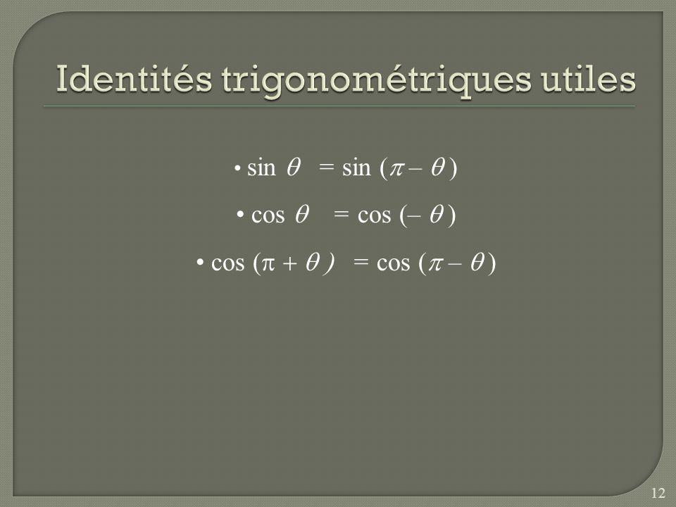 Identités trigonométriques utiles