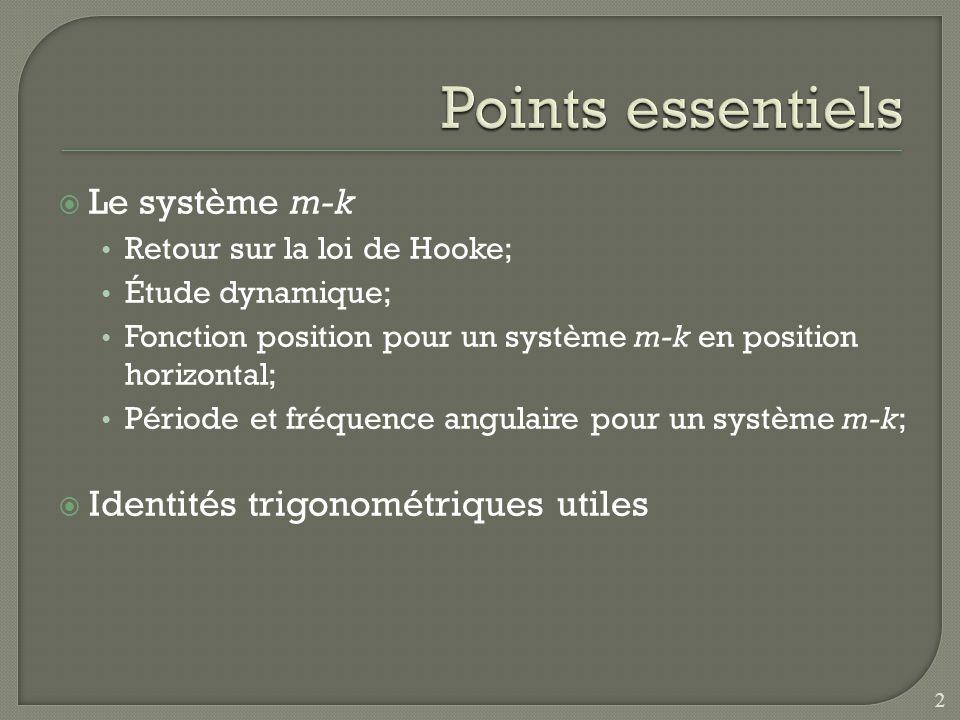 Points essentiels Le système m-k Identités trigonométriques utiles