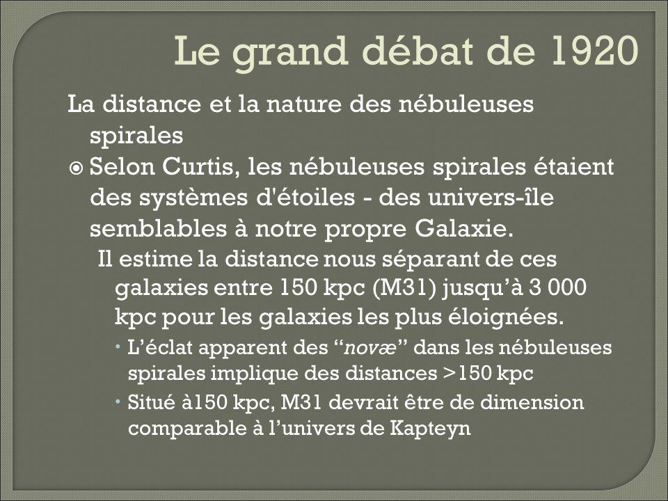 Le grand débat de 1920 La distance et la nature des nébuleuses spirales.