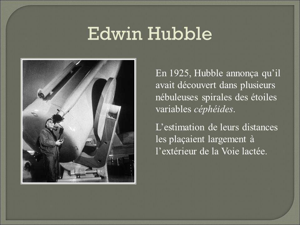 Edwin Hubble En 1925, Hubble annonça qu'il avait découvert dans plusieurs nébuleuses spirales des étoiles variables céphéides.