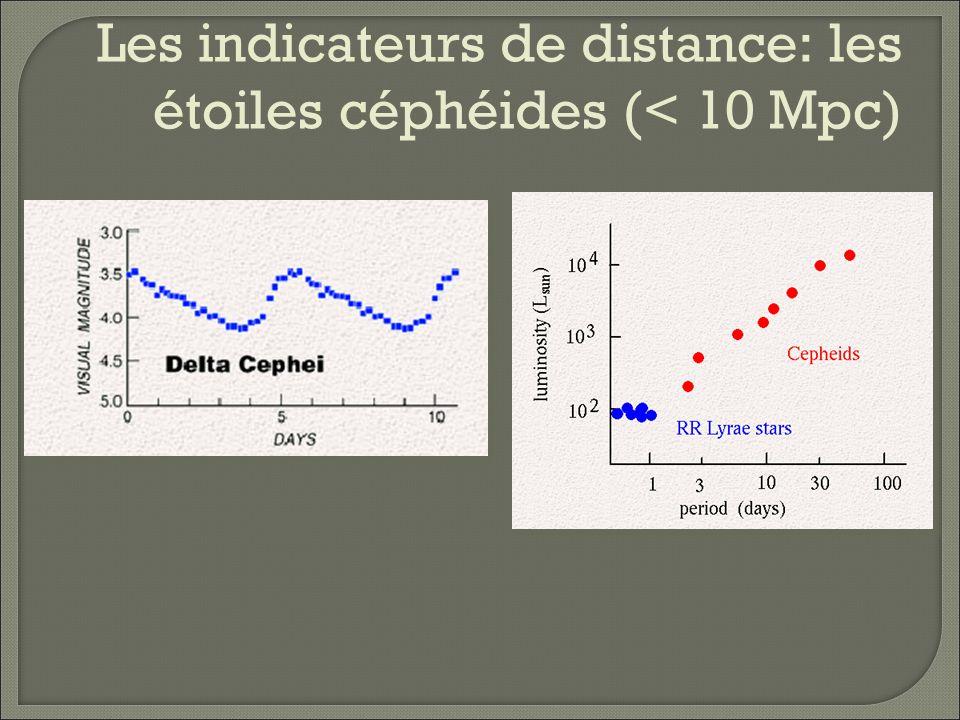Les indicateurs de distance: les étoiles céphéides (< 10 Mpc)