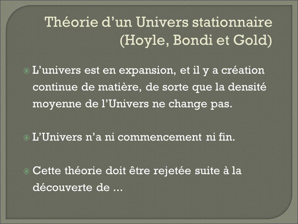 Théorie d'un Univers stationnaire (Hoyle, Bondi et Gold)