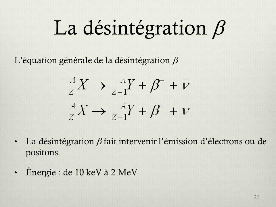 La désintégration b L'équation générale de la désintégration b