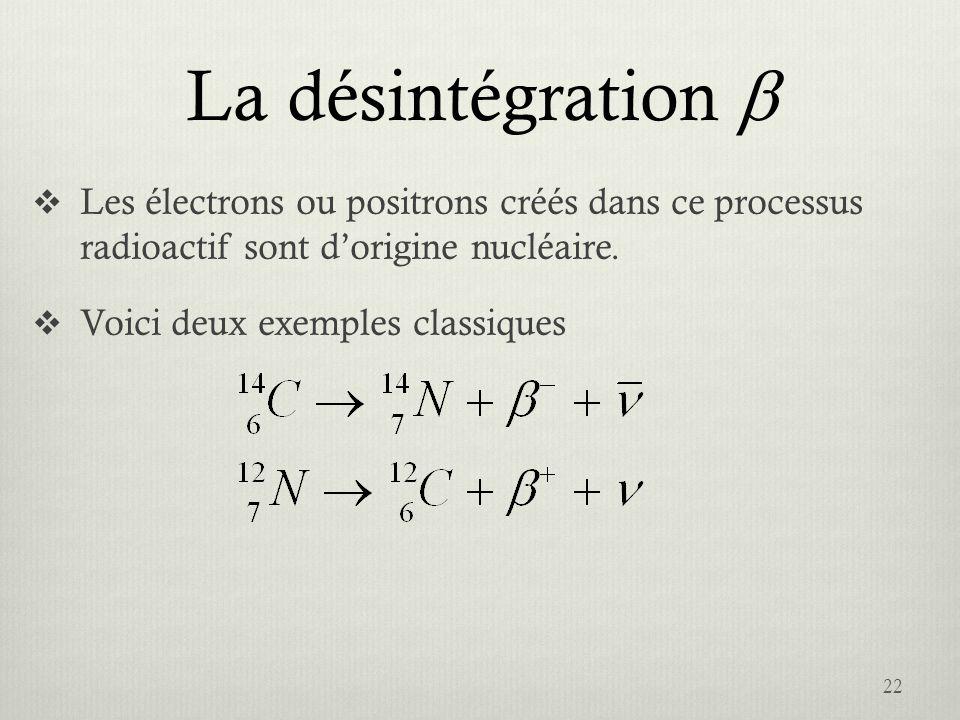 La désintégration b Les électrons ou positrons créés dans ce processus radioactif sont d'origine nucléaire.
