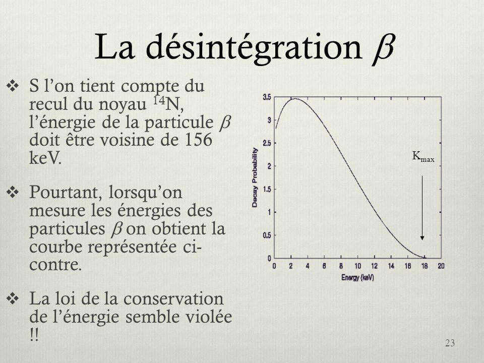 La désintégration b S l'on tient compte du recul du noyau 14N, l'énergie de la particule b doit être voisine de 156 keV.