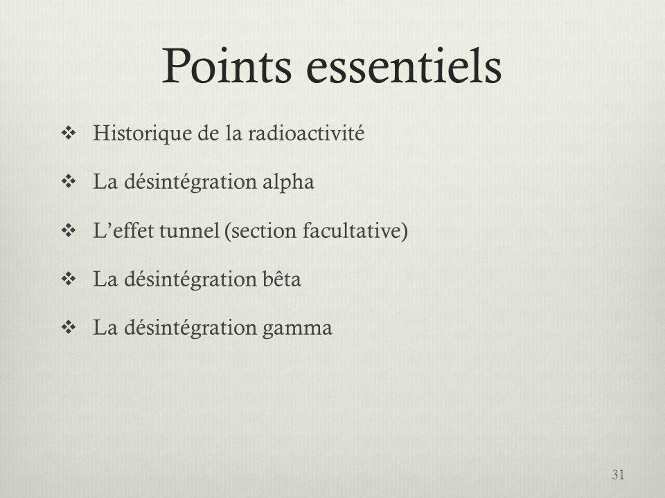 Points essentiels Historique de la radioactivité