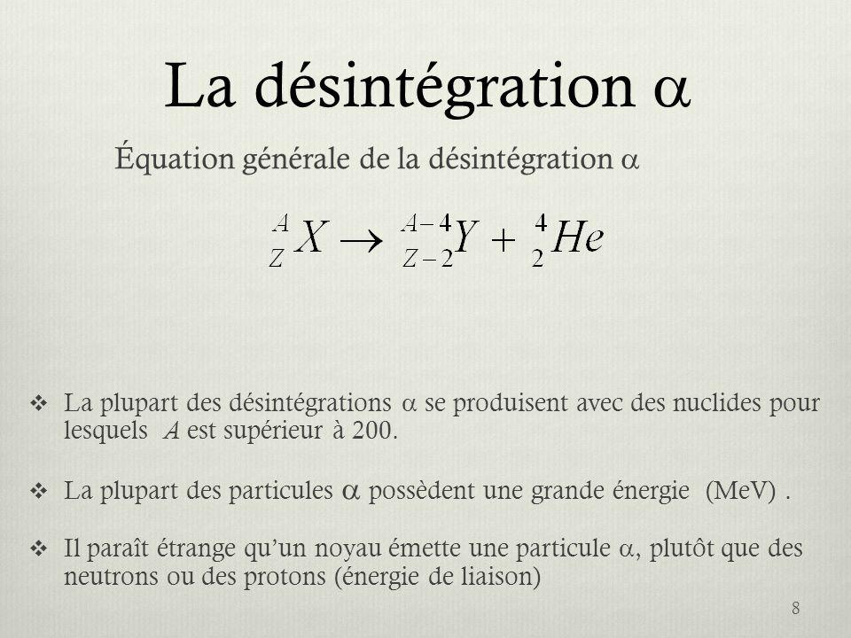 La désintégration a Équation générale de la désintégration a