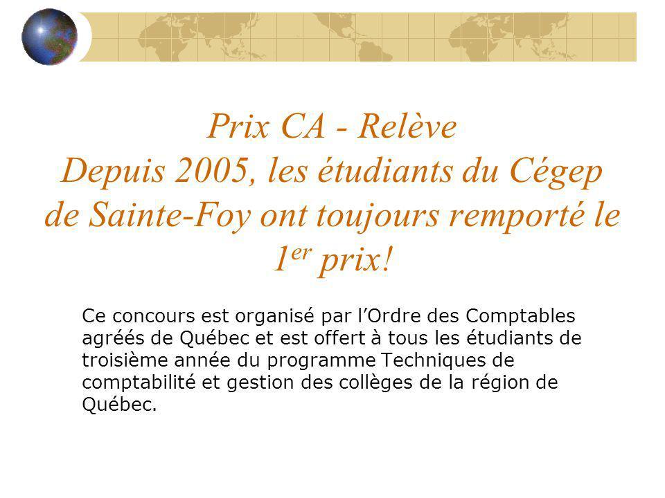 Prix CA - Relève Depuis 2005, les étudiants du Cégep de Sainte-Foy ont toujours remporté le 1er prix!