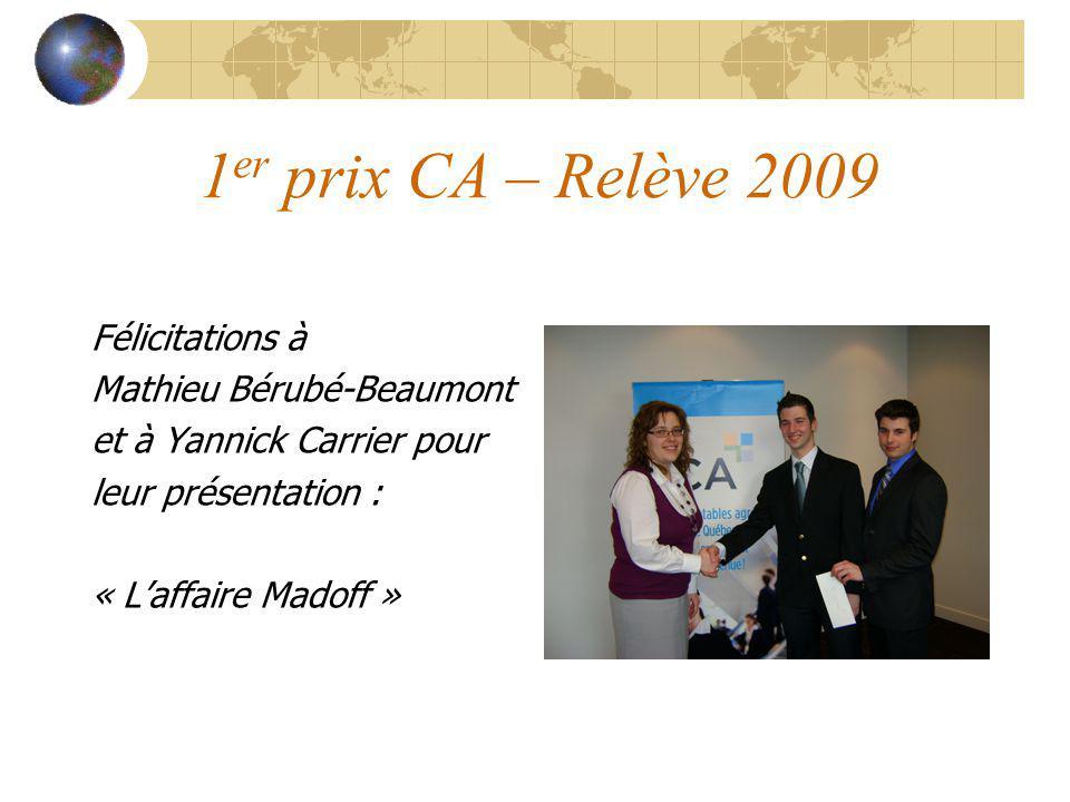 1er prix CA – Relève 2009 Félicitations à Mathieu Bérubé-Beaumont
