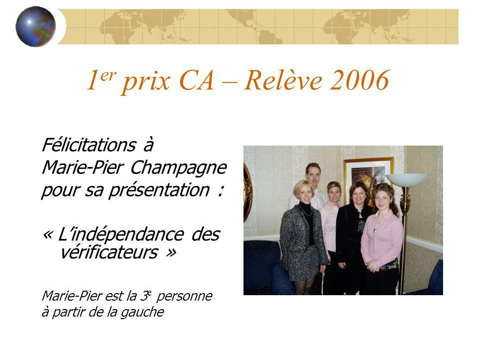 1er prix CA – Relève 2006 Félicitations à Marie-Pier Champagne