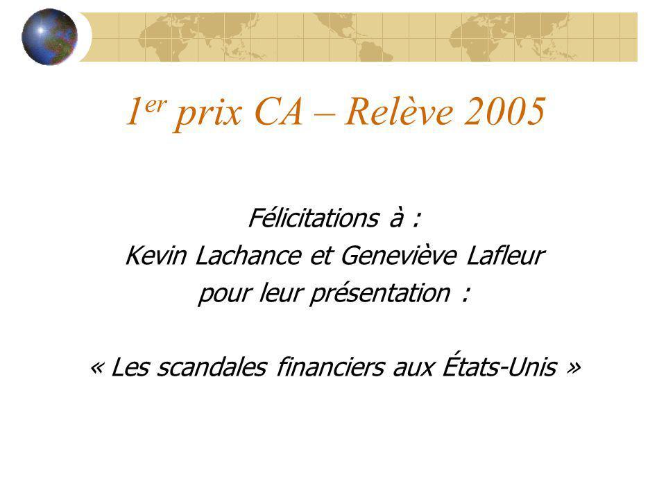 1er prix CA – Relève 2005 Félicitations à :
