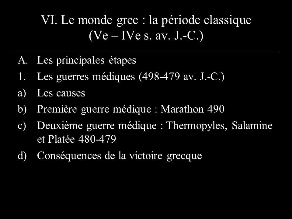 VI. Le monde grec : la période classique (Ve – IVe s. av. J.-C.)
