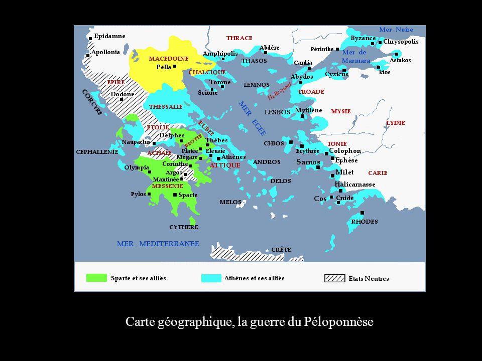 Carte géographique, la guerre du Péloponnèse
