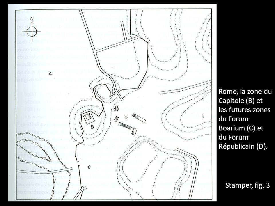 Rome, la zone du Capitole (B) et les futures zones du Forum Boarium (C) et du Forum Républicain (D).