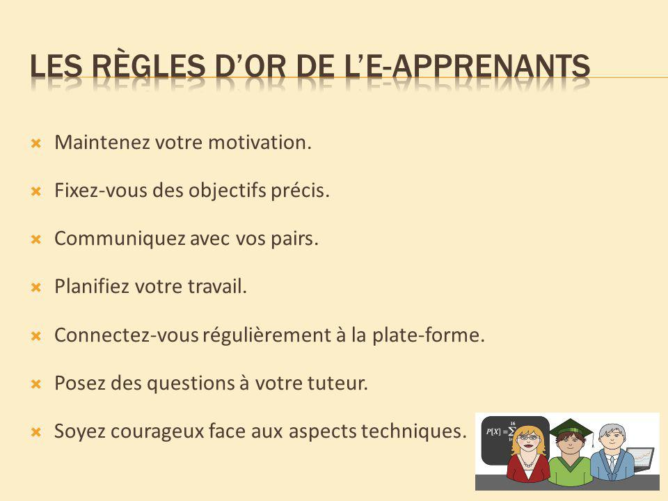 Les règles d'or de l'e-apprenants