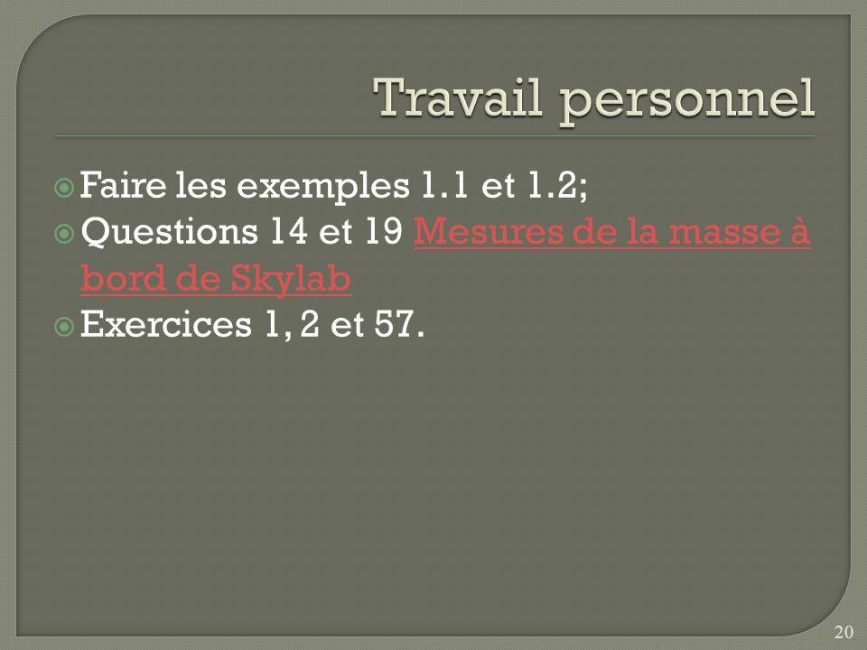 Travail personnel Faire les exemples 1.1 et 1.2;