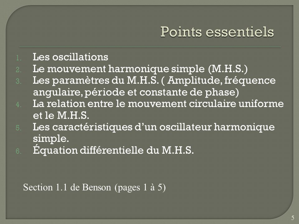 Points essentiels Les oscillations