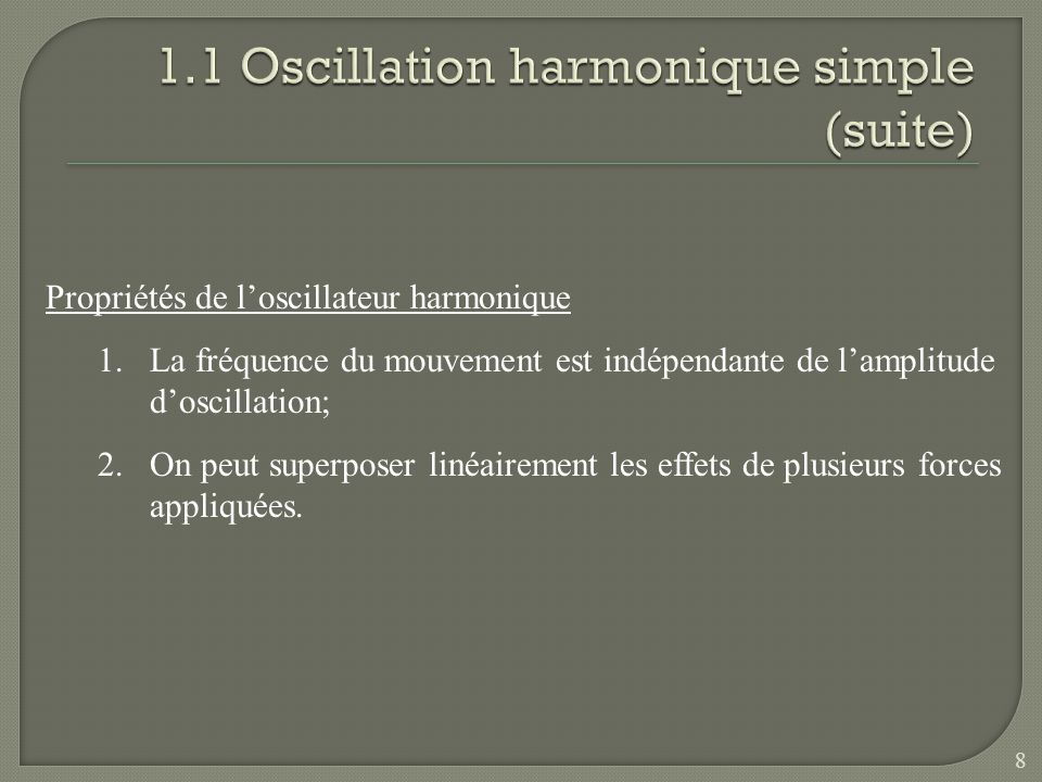 1.1 Oscillation harmonique simple (suite)